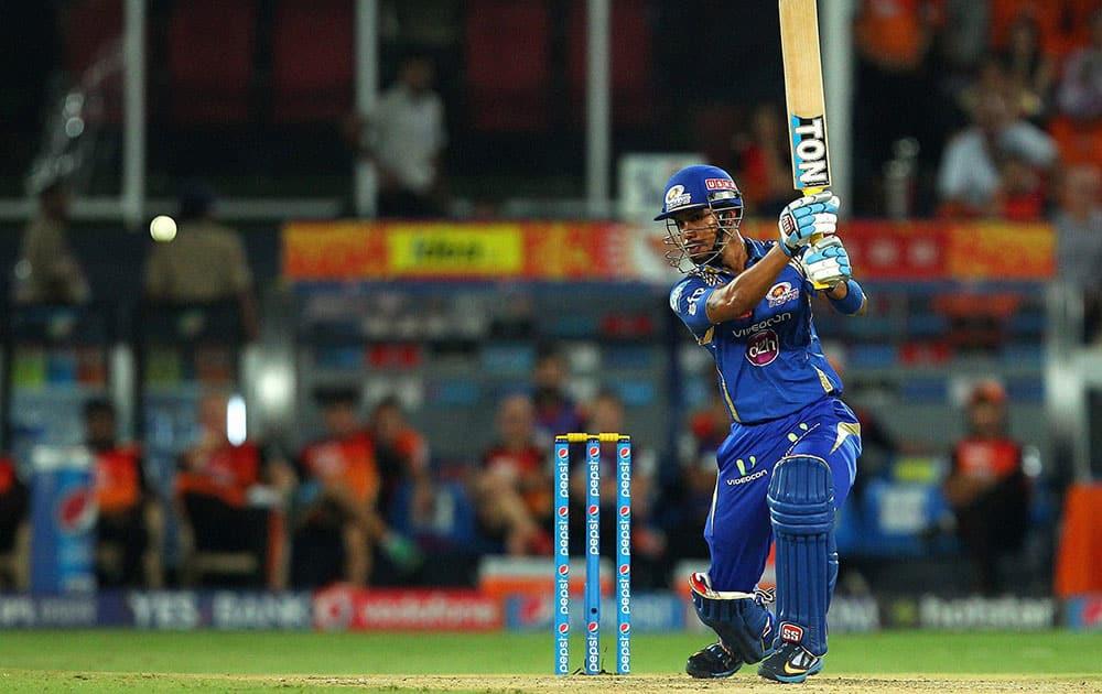 Mumbai Indians batsman Lendl Simmons plays a shot against Sunrisers Hyderabad during the IPL match in Hyderabad.