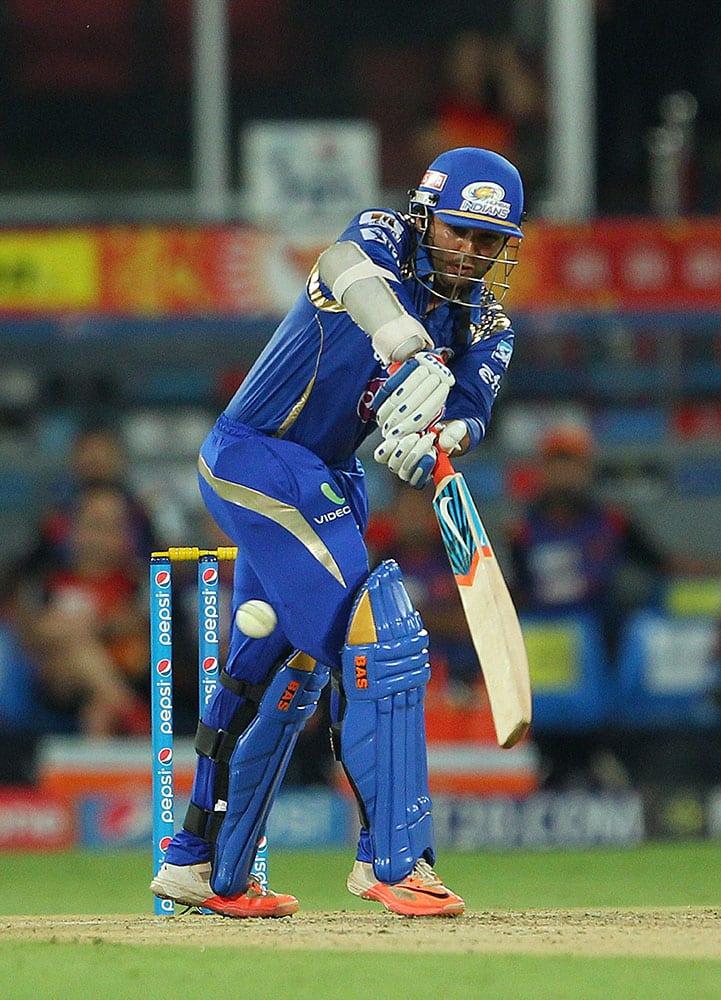 Mumbai Indians batsman Parthiv Patel plays a shot against Sunrisers Hyderabad during the IPL match in Hyderabad.