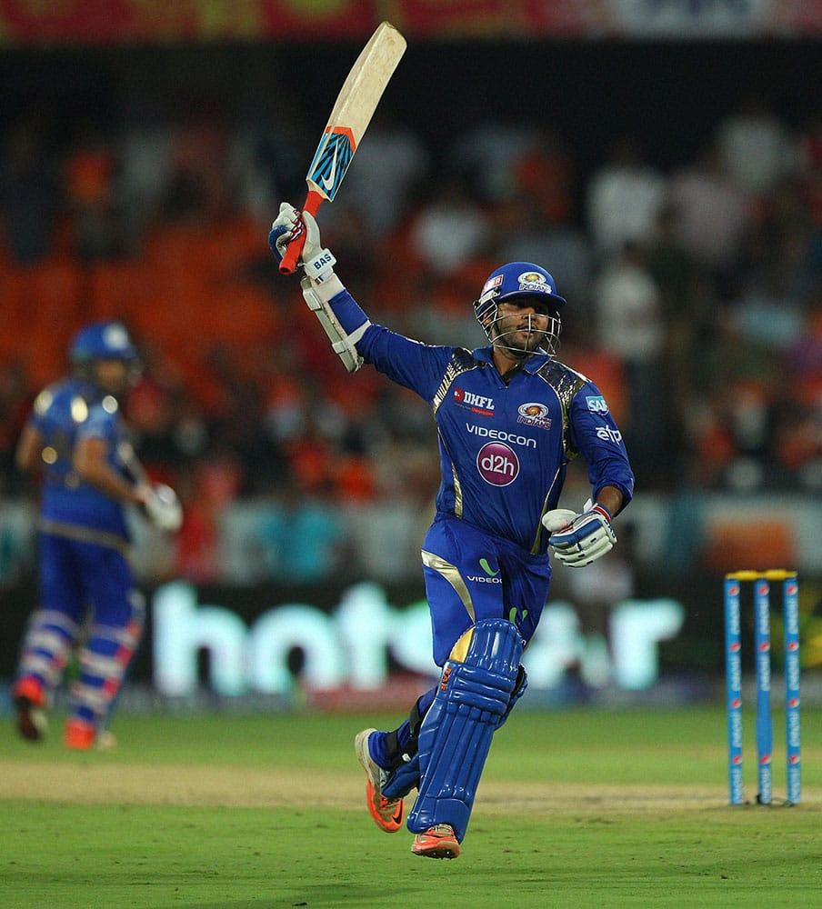 Mumbai Indians batsman Parthiv Patel celebrates the win against Sunrisers Hyderabad during the IPL match in Hyderabad.