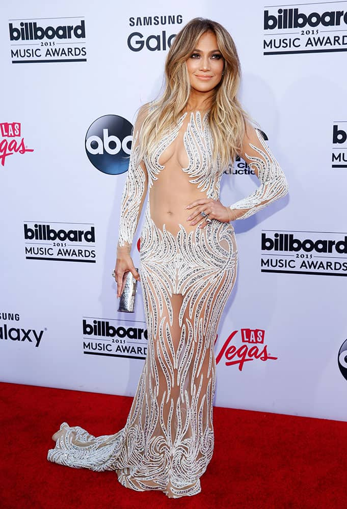 Jennifer Lopez arrives at the Billboard Music Awards at the MGM Grand Garden Arena in Las Vegas.