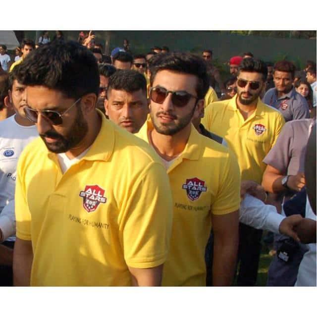 Abhishek Bachchan :- 2 nahin 3 bhai!! #BeardBrothers @arjunk26 #Ranbir #AllStarsFC -twitter