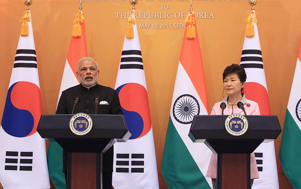 Prime Minister Narendra Modi and South Korean President Park Geun-hye hold a joint news conference at the presidential Blue House in Seoul, South Korea.