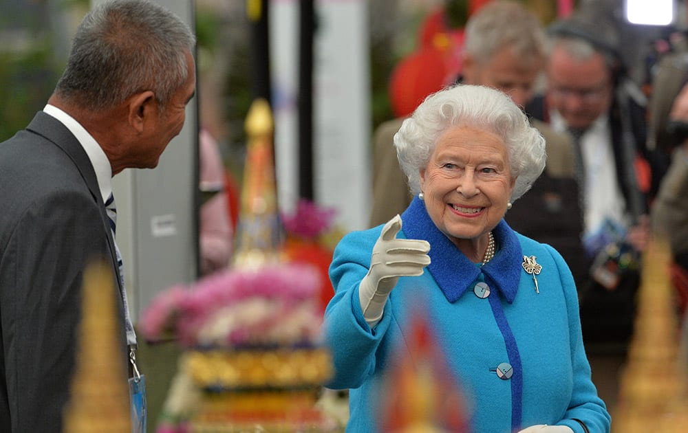 Britain's Queen Elizabeth visits the Royal Horticultural Society Chelsea Flower Show 2015 in London.