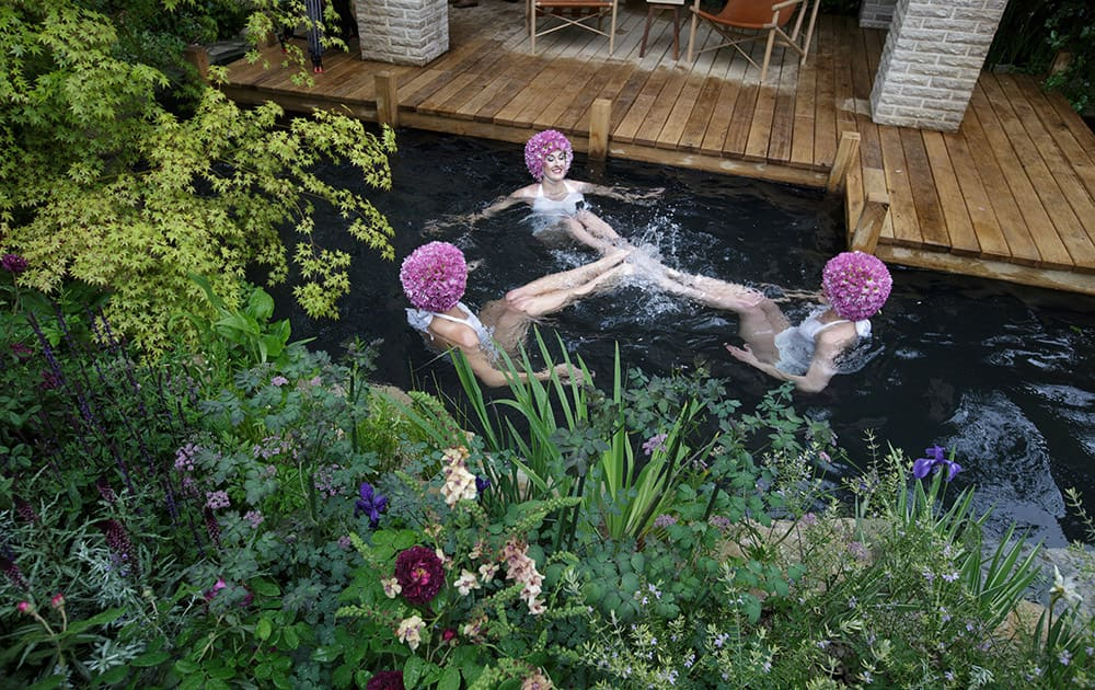Synchronised swimmers pose for pictures in the swimming pond in the M & G Garden - The Retreat at the Chelsea Flower Show in London.