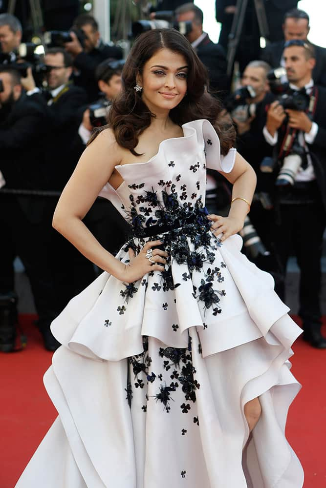 Actress Aishwarya Rai Bachchan poses for photographers as she arrives for the screening of the film Youth at the 68th international film festival, Cannes.