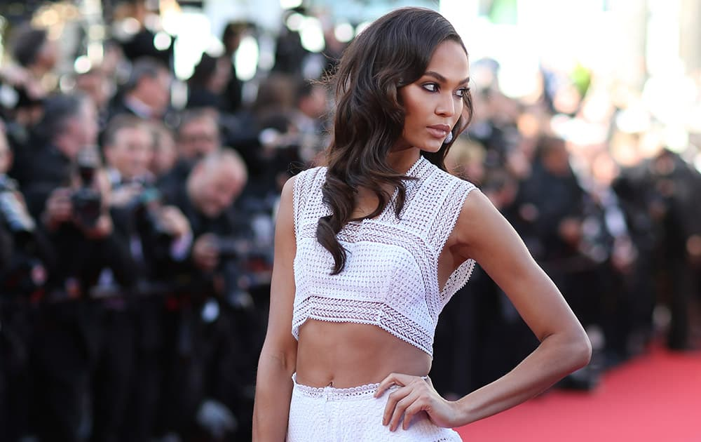 Chanel Iman poses for photographers upon arrival at the screening of the film Youth at the 68th international film festival, Cannes.