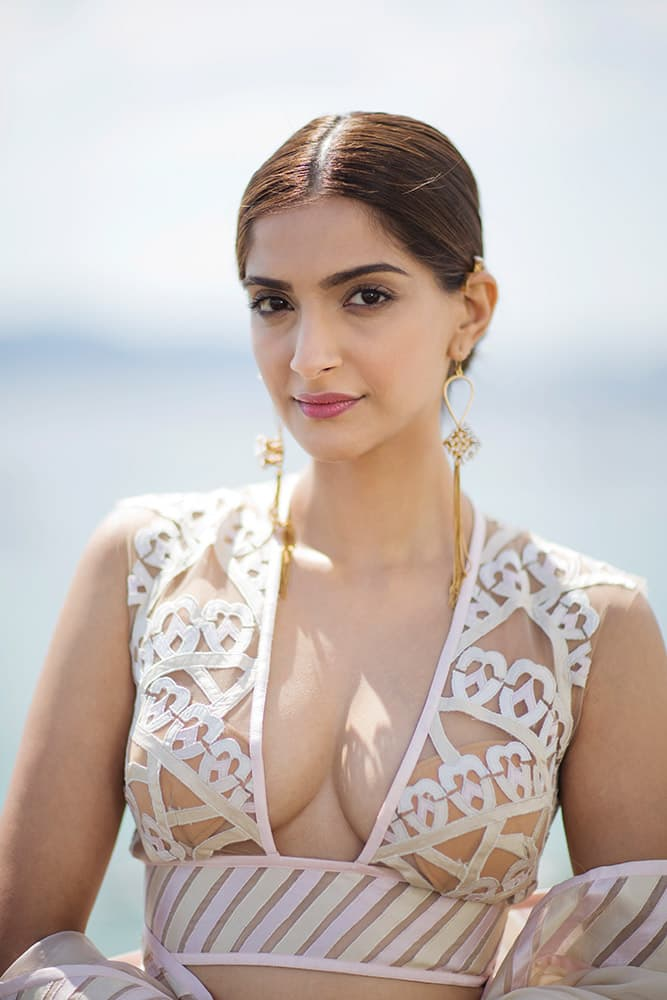 Sonam Kapoor poses for a photograph during the 68th international film festival, Cannes, southern France.