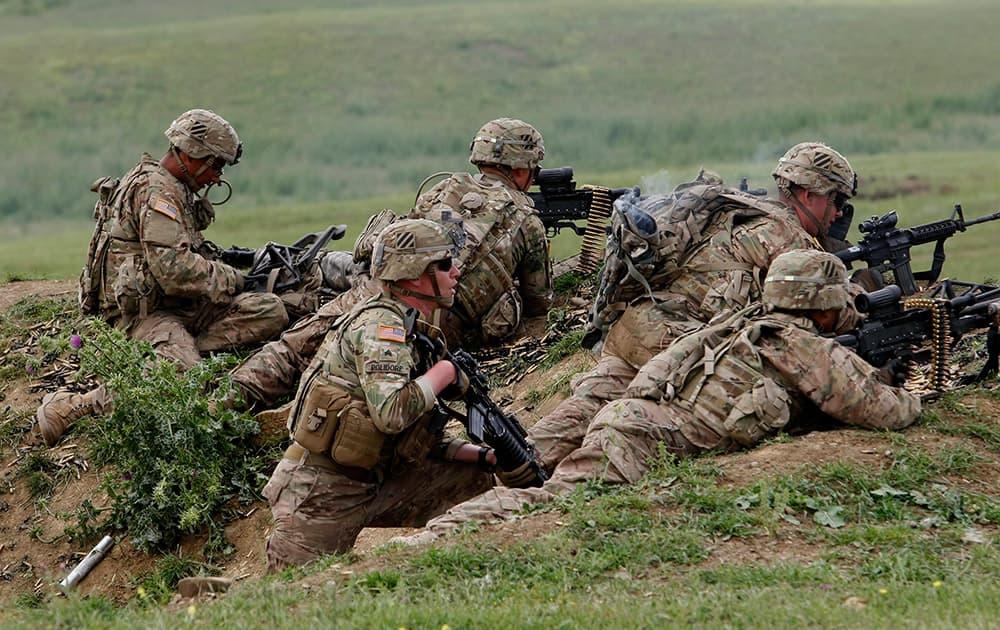 US and Georgian servicemen take part in the joint US-Georgia military exercise at the Vaziani base outside the Georgian capital, Tbilisi, Georgia.