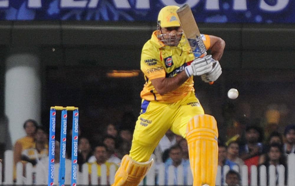 Chennai Super Kings M S Dhoni plays a shot against Royal Challngers Bangalore during the 2nd qualifier match of IPL 8 at Ranchi.