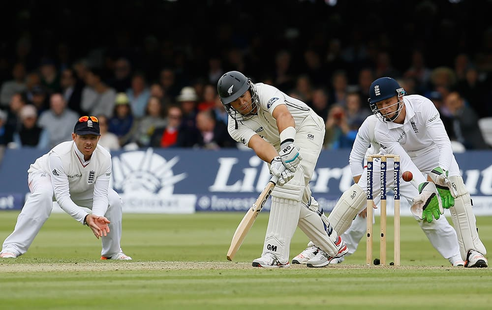 New Zealand's Ross Taylor plays a shot off the bowling of England's Moeen Ali during the second day of the first Test match between England and New Zealand at Lord's cricket ground in London.