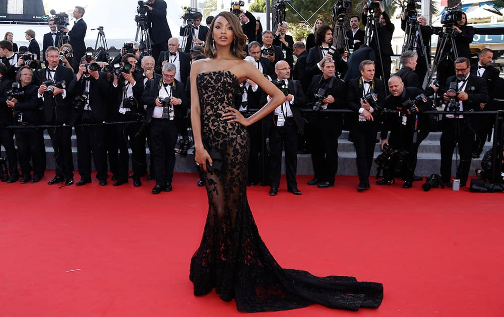 Model Jourdan Dunn poses for photographers upon arrival for the screening of the film The Little Prince at the 68th international film festival, Cannes