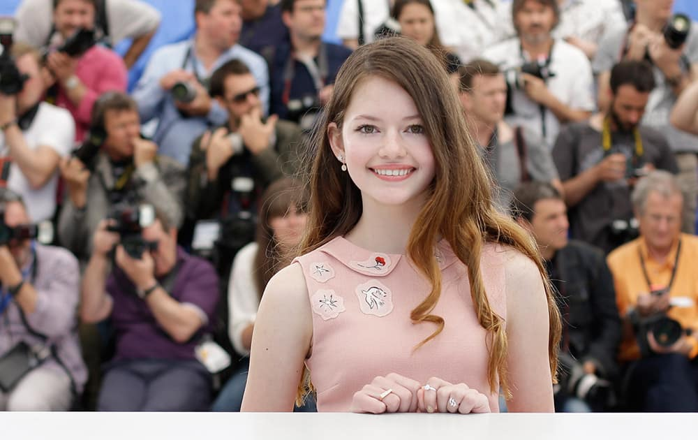 Actor Mackenzie Foy poses for photographers during a photo call for the film The Little Prince, at the 68th international film festival, Cannes, southern France.