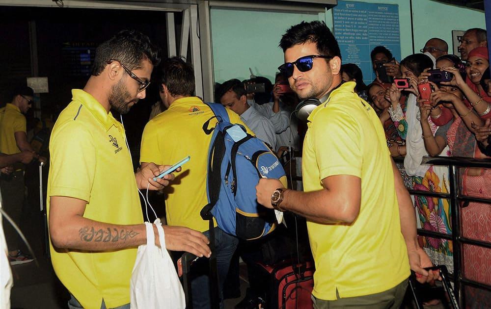 Chennai Super King (CSK) players Ravindra Jadeja and Suresh Raina at Birsa Munda International Airport in Ranchi to catch flight for Kolkata on Saturday to play Indian Premier League (IPL) final match against Mumbai Indians.