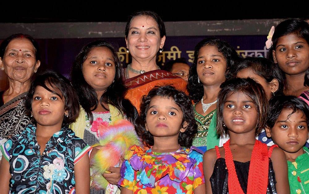 Shabana Azmi with orphan children during inauguration function of Kaifi Azmi IPTA Culture Center.