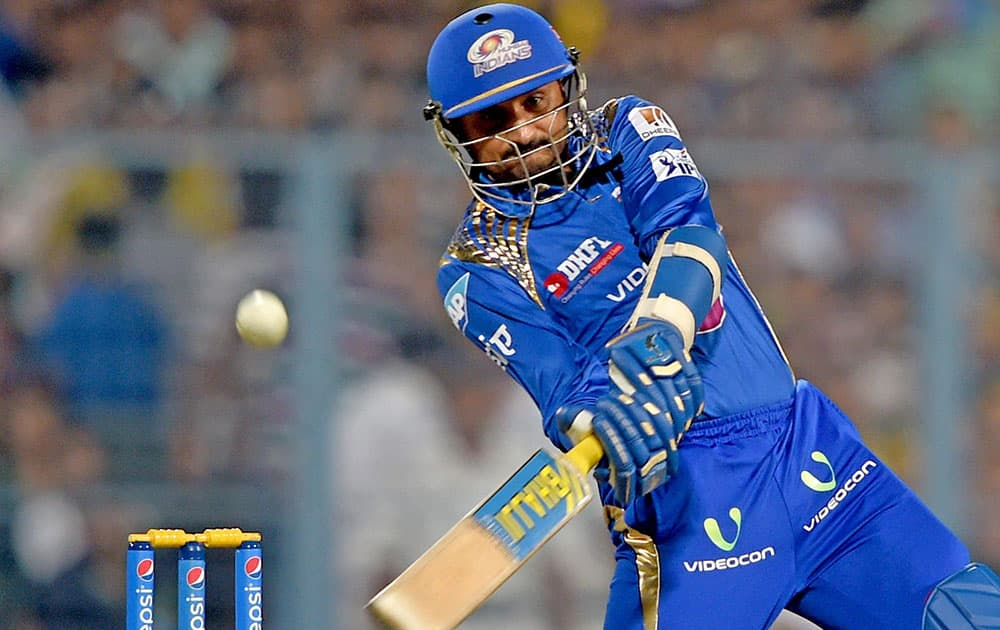 Mumbai Indian batsman Harbhajan Singh plays a shot during IPL Final against CSK at Eden Garden in Kolkata.