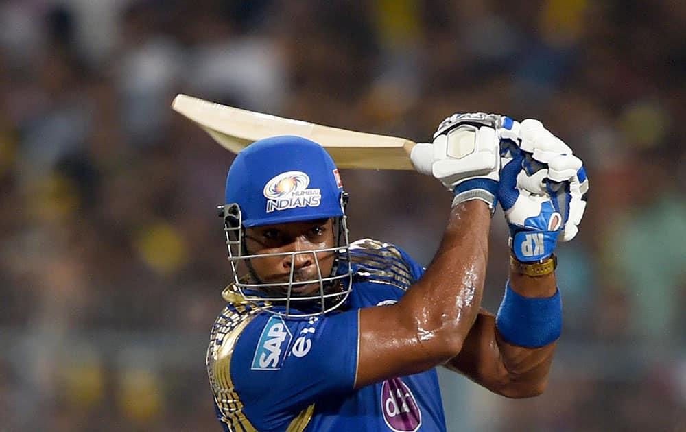 Mumbai Indian batsman Kieron Pollard plays a shot during IPL Final against CSK at Eden Garden in Kolkata.