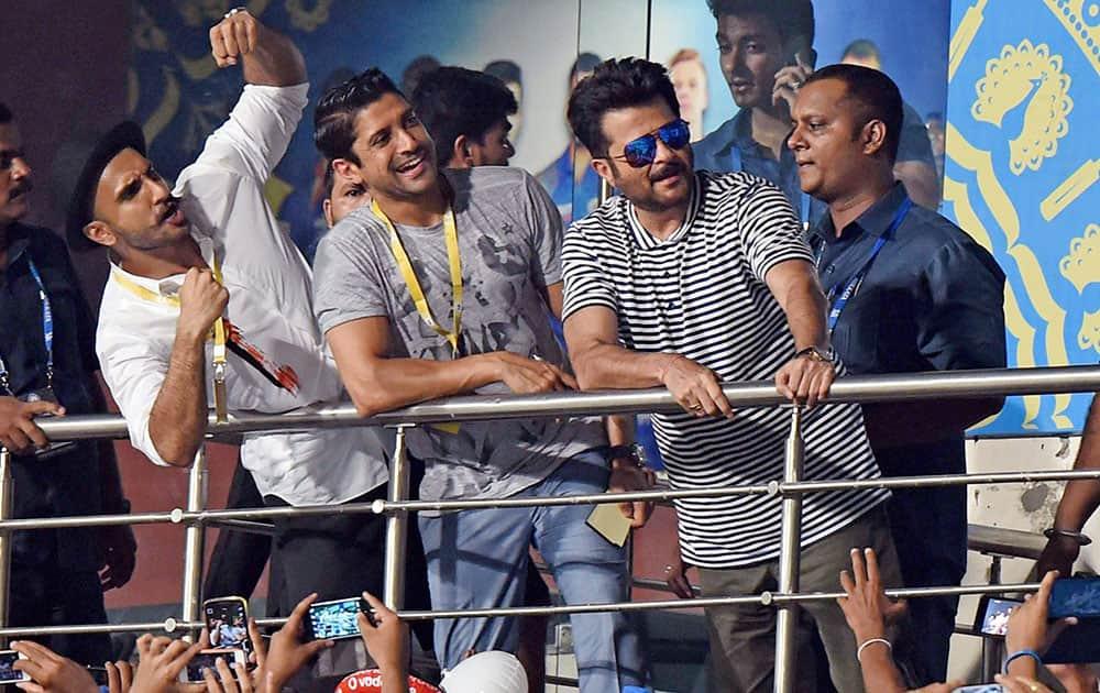 Bollywood actors Anil Kapoor, Farhan Akhtar and Ranveer Singh at Eden Gardens for IPL 8 final match between Mumbai Indian and Chennai Super Kings in Kolkata.