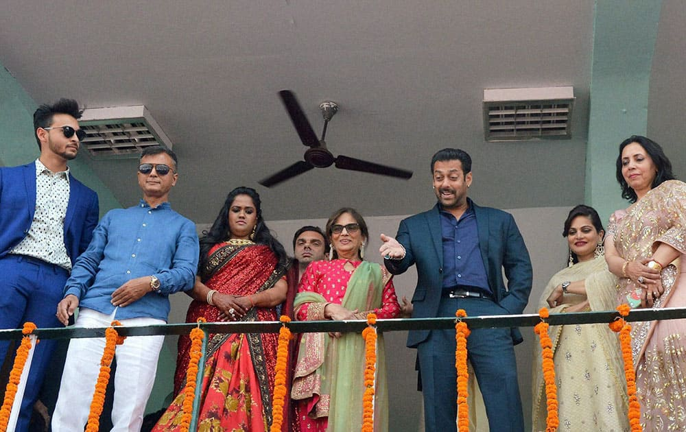 Bollywood actor Salman Khan attends the wedding reception of his sister Arpita Khan in her home town in Mandi.
