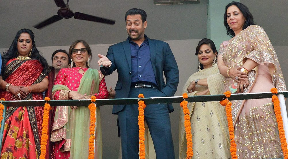 Salman Khan attends the wedding reception of his sister Arpita Khan in her home town.