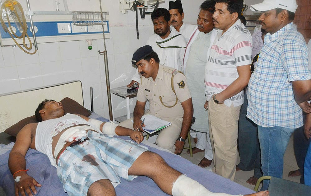 An injured is treated at a hospital after a blast at the residence of a JD-U leader in Gaya.