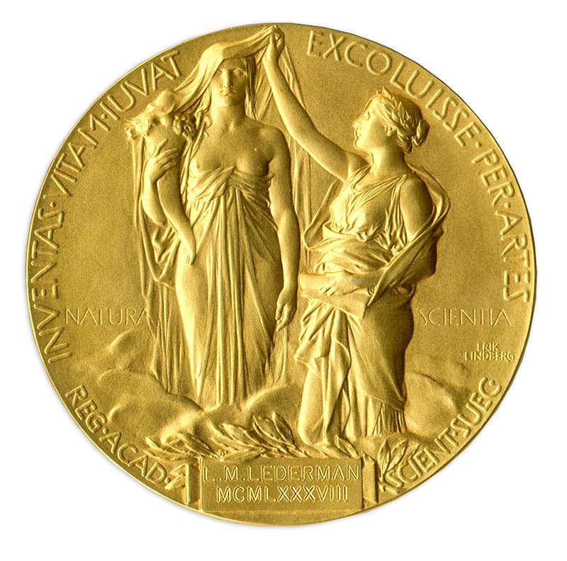 This image shows the reverse of the 1988 Nobel Prize in Physics awarded to Dr. Leon Lederman. The award will be auctioned by Nate D. Sanders Auctions on May 28, 2015.