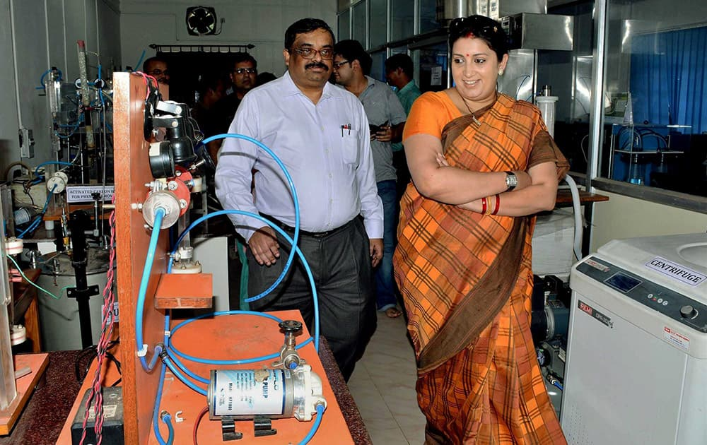 Human Resource Development Minister Samriti Irani with IIT Kharagpur director PP Chakraborty at Chemical Engineering laboratory during her visit at IIT Kharagpur in West Midnapore district of West Bengal.