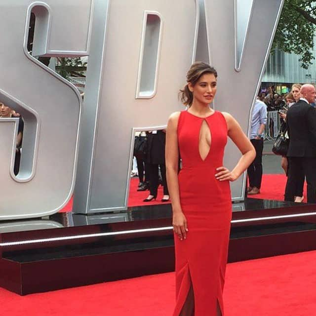 Lady in red ! ❤#nargisfakhri #london #spy #SpyMovie #premier #redcarpet #red in #monishajaising #monishajaising #spypremiere -instagram