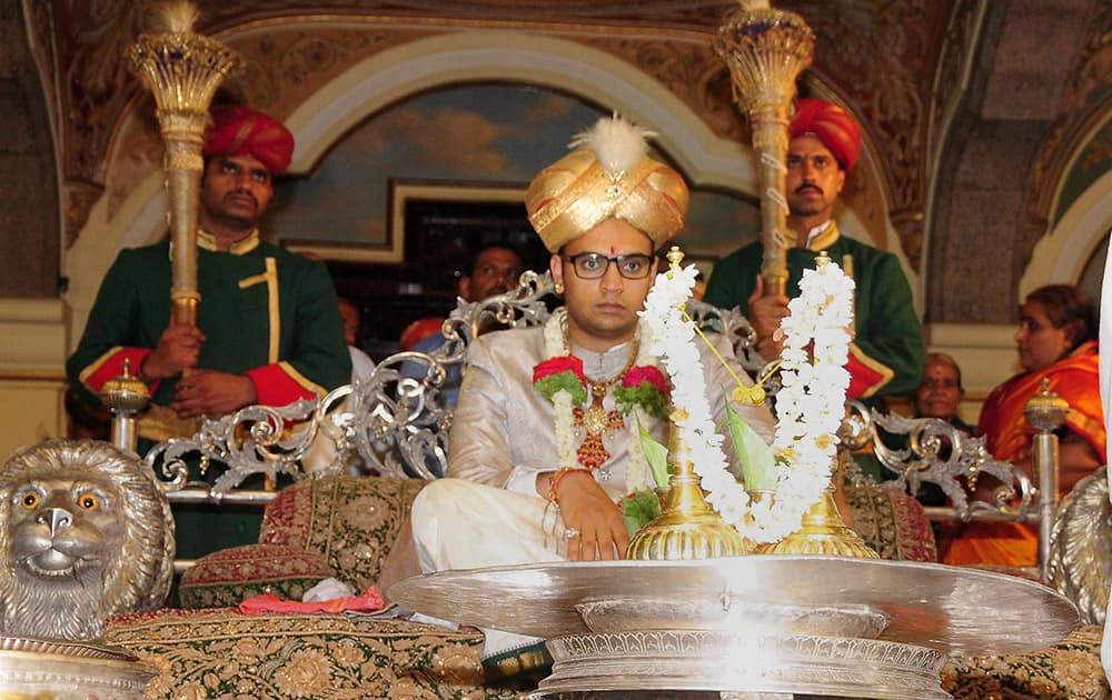 YADUVEER KRISHNANADATTA CHAMARAJA WADIYAR AT A RITUAL IN MYSORE, A DAY AHEAD OF HIS CORONATION CEREMONY.