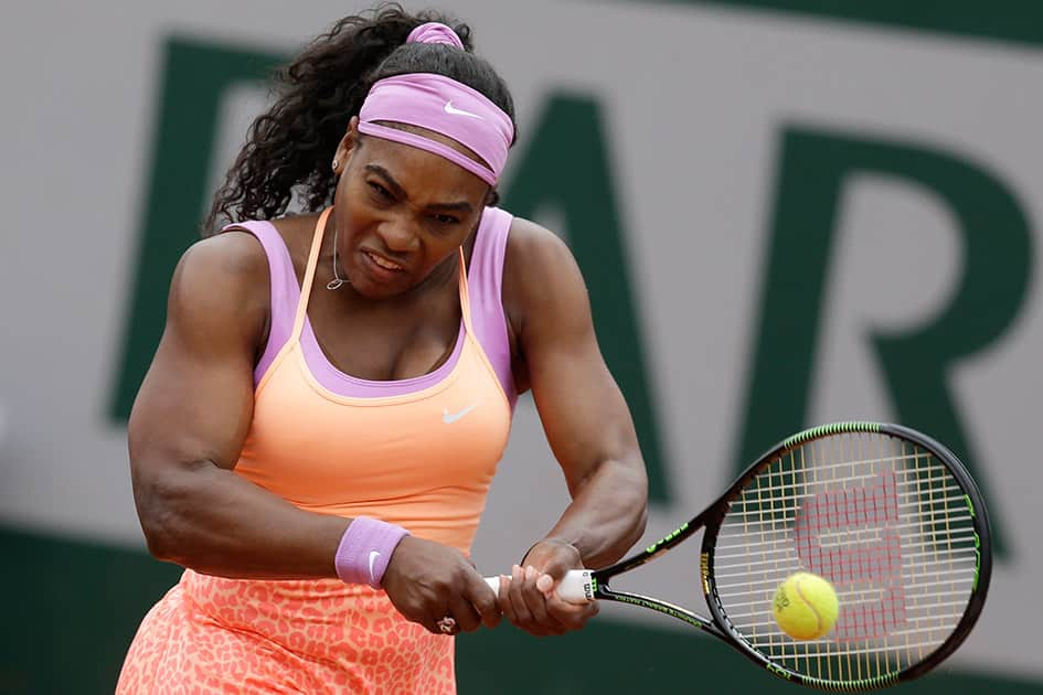 Serena Williams of the US returns in the second round match of the French Open tennis tournament against Germany's Anna-Lena Friedsam at the Roland Garros stadium, in Paris, France.
