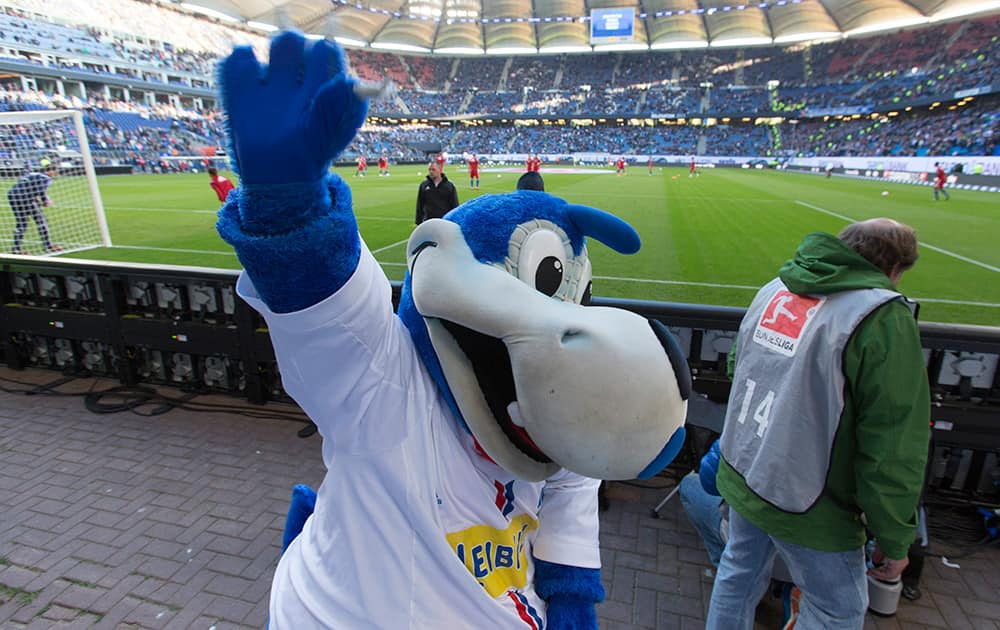 Hamburg's mascot 'Hermann' cheers the fans prior the German first division Bundesliga first leg relegation soccer match between Hamburger SV and Karlsruher SC in Hamburg, Germany.