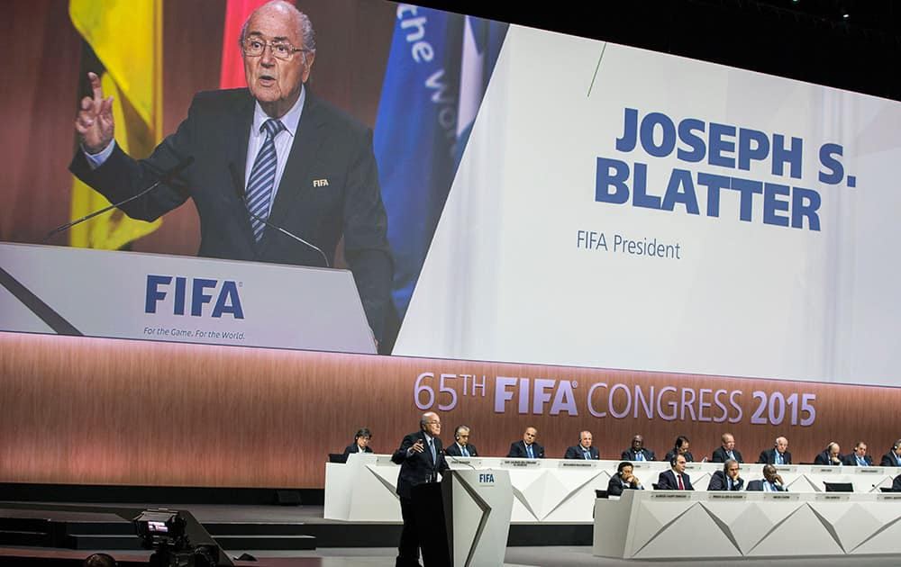 FIFA President Joseph S. Blatter speaks during the 65th FIFA Congress held at the Hallenstadion in Zurich, Switzerland.