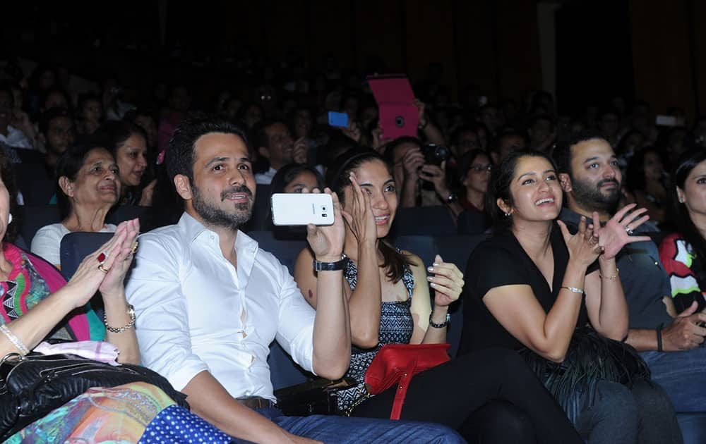 Emraan Hashmi (2L) attended his son Ayaan's dance performance in Mumbai. -dna