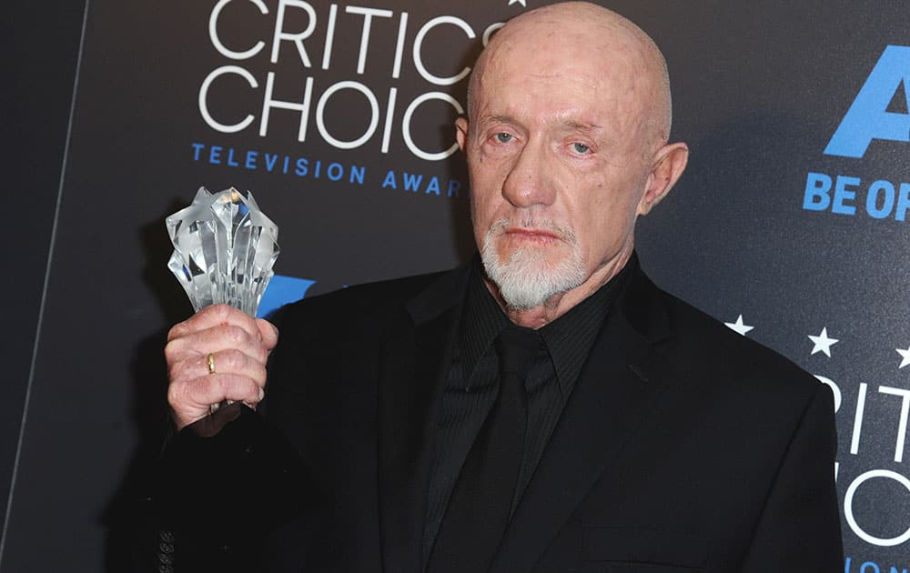 "Jonathan Banks poses in the press room with the award for for best supporting actor in a drama series for ""Better Call Saul"" at the Critics' Choice Television Awards."