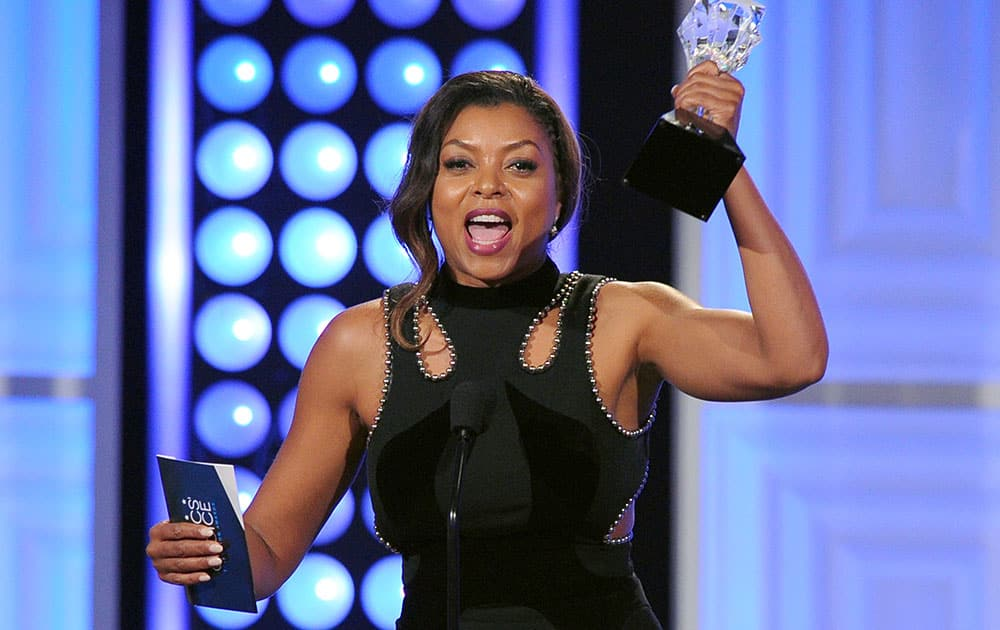 "Taraji P. Henson accepts the award for best actress in a drama series for ""Empire"" at the Critics' Choice Television Awards."
