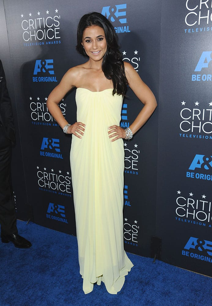Emmanuelle Chriqui arrives at the Critics' Choice Television Awards at the Beverly Hilton hotel in Beverly Hills, Calif.
