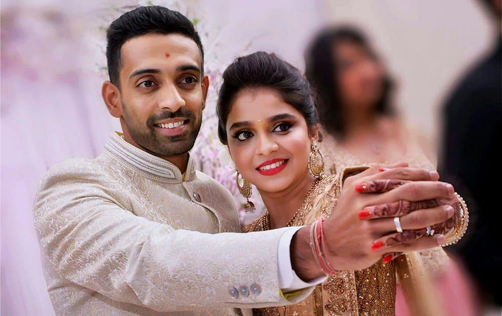 Cricketer Dhawal Kulkarni and Shraddha Kharpude at their engagement ceremony in Mumbai.