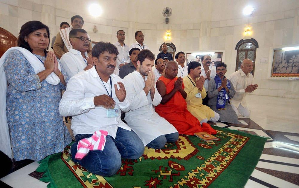 Congress Vice President Rahul Gandhi at Dr B R Ambedkar memorial at his birthplace in Mhow, Madhya Pradesh.