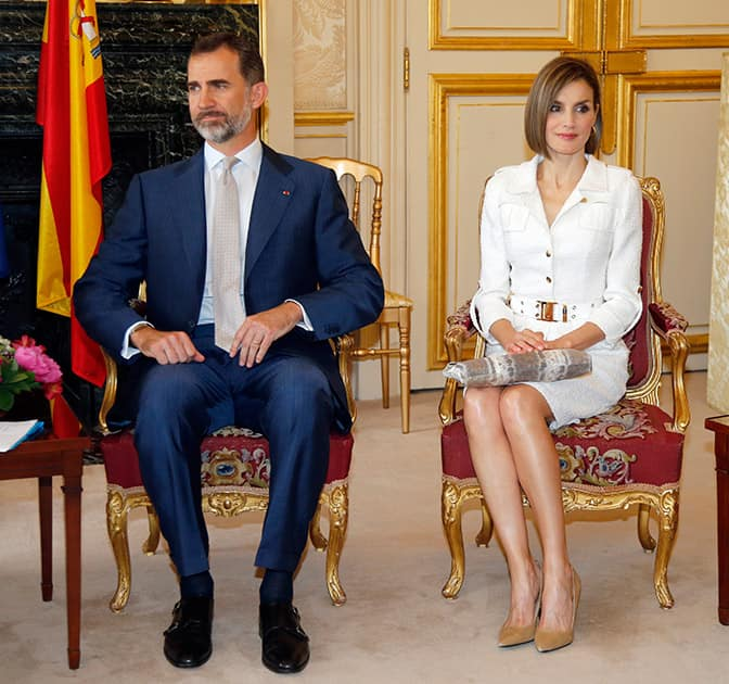 Spain's King Felipe VI and Queen Letizia attend a visit to the Senate in Paris, France. King Felipe VI is on a three-day state visit in France.