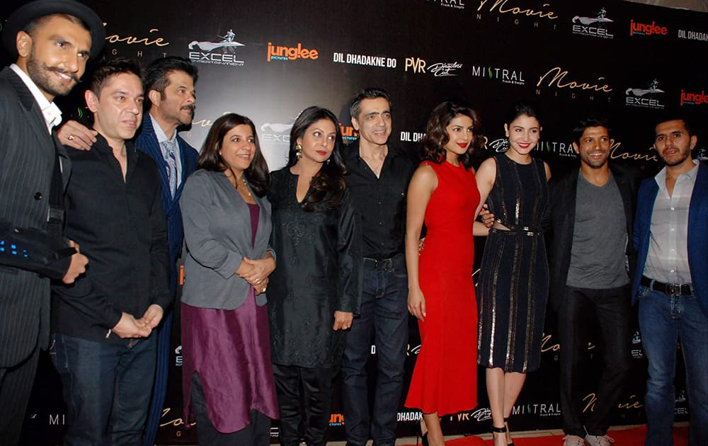 Star cast of the film Dil Dhadakne Do during the red carpet ceremony in New Delhi.