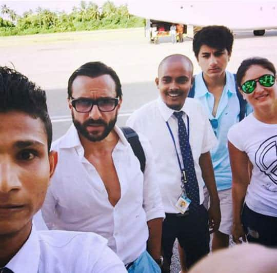 Kareena Kapoor Khan was spotted posing for a selfie with fans in Maldives along with Saif & Ibrahim -twitter