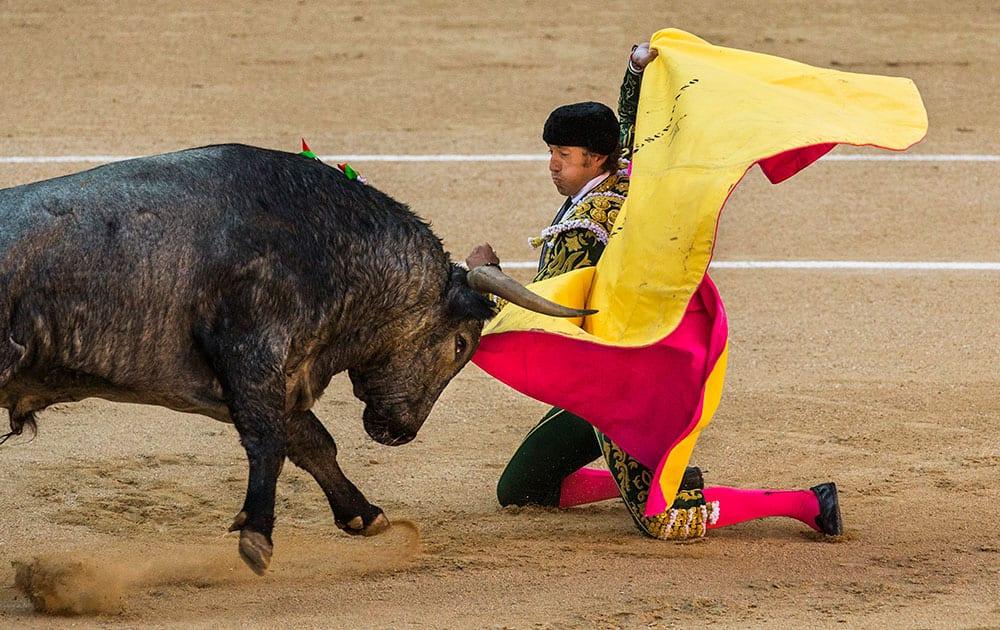 Bullfighter Manuel Escribano performs with a bull during a bullfight at Las Ventas bullring in Madrid, Spain.