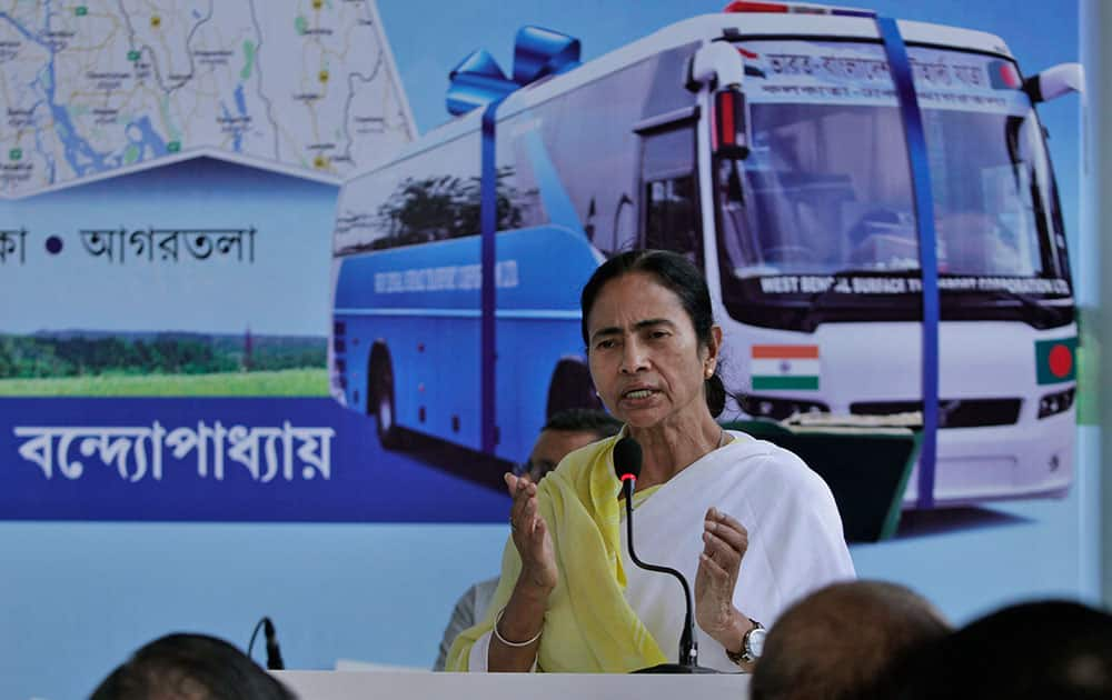 West Bengal Chief Minister Mamata Banerjee delivers a speech during the flagging off ceremony of the Kolkata-Dhaka-Agartala bus service, in Kolkata, India.