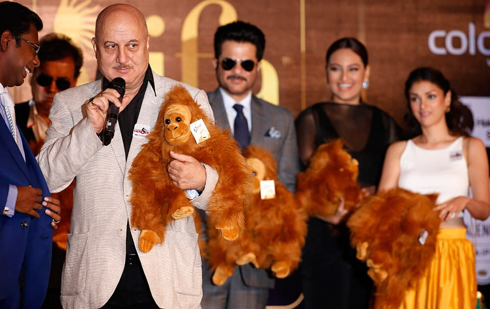 Anupam Kher speaks during the International Indian Film Awards (IIFA) press conference in Kuala Lumpur, Malaysia. The 16th IIFA is scheduled for June 5-7 in Malaysia.