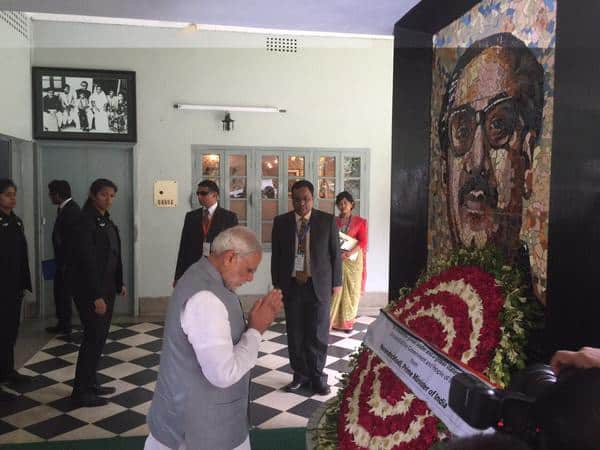 After tributes to the Martyrs, paying respects to Sheikh Mujibur Rahman at Bangabandhu Memorial Museum. - Twitter@PMOIndia