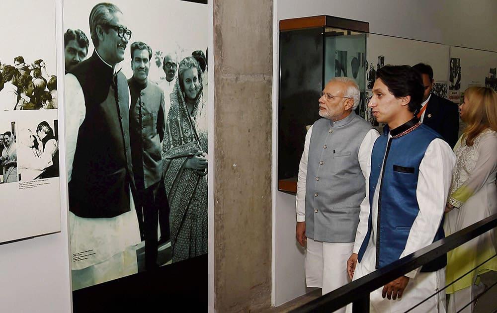 Prime Minister Narendra Modi visits Bangabandhu Museum in Dhaka.
