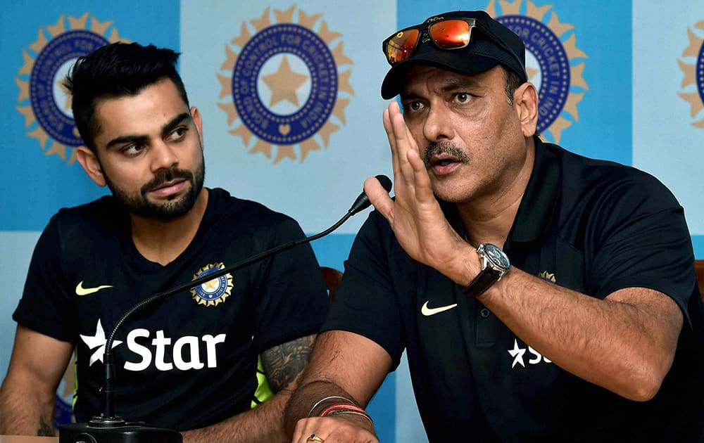 Ravi Shastri and Captain Virat Kohli interact with the media in Kolkata on Sunday ahead of their Bangladesh tour.