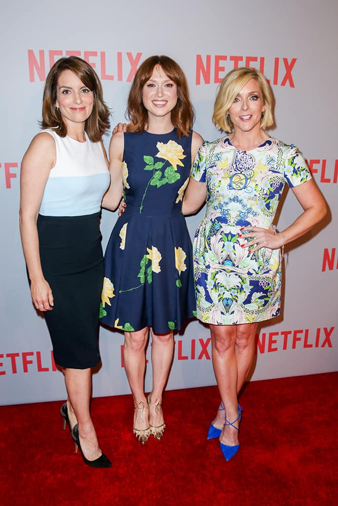 Tina Fey, Ellie Kemper and Jane Krakowski arrive at Netflix's 'Unbreakable Kimmy Schmidt' Q&A Screening at Pacific Design Center, in West Hollywood, Calif.