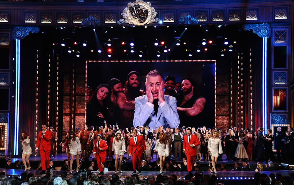The cast of 'Jersey Boys' performs at the 69th annual Tony Awards at Radio City Music Hall, in New York.