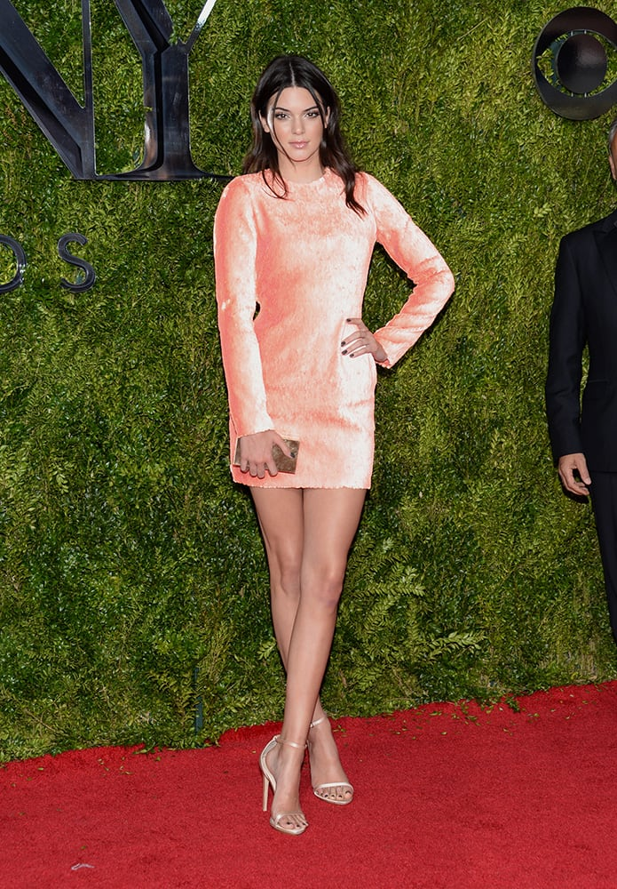 Kendall Jenner arrives at the 69th annual Tony Awards at Radio City Music Hall, in New York.