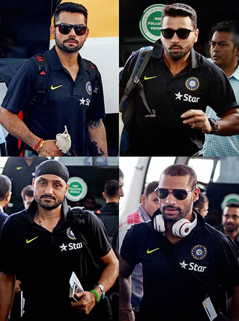 Captain Virat Kohli, Murli Vijay, Harbhajan Singh and Shikhar Dhawan arrive at the airport in Kolkata on Monday morning to leave for the Bangladesh tour.